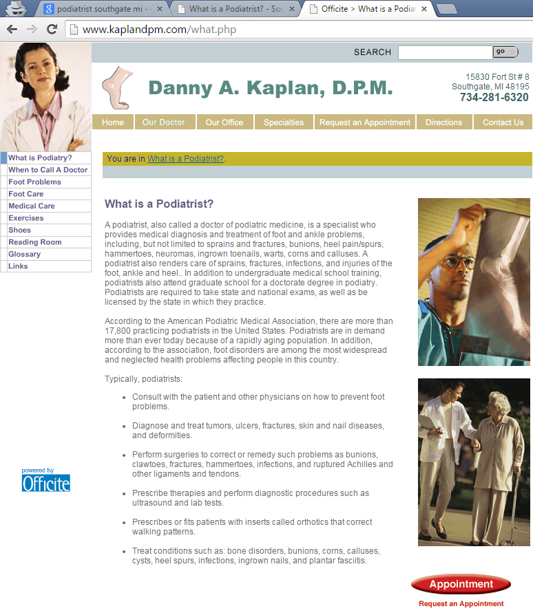 "Dr. Kaplan's web page ""What is Podiatry?"" screenshot from March 2015 Officite website"
